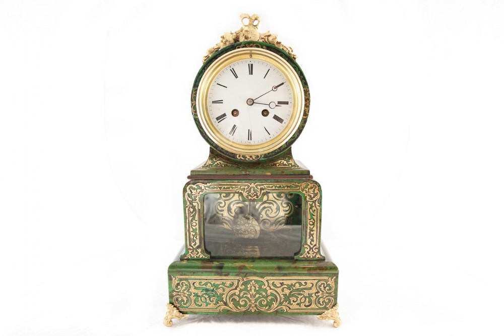 french 8 day green boulle style case clock