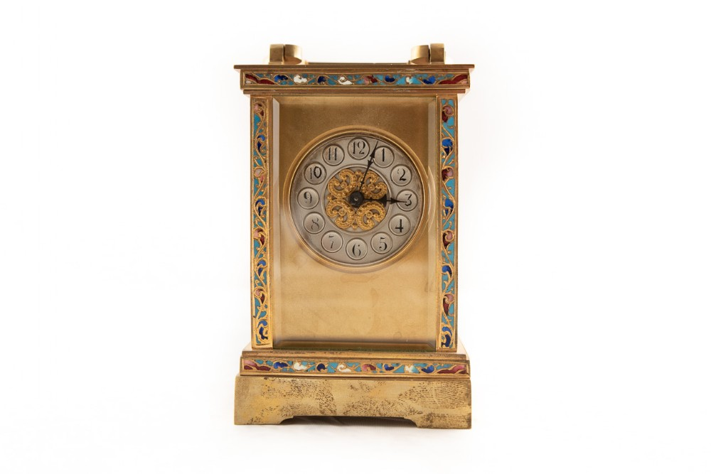 rare brass cased 8 day french timepiece carriage clock