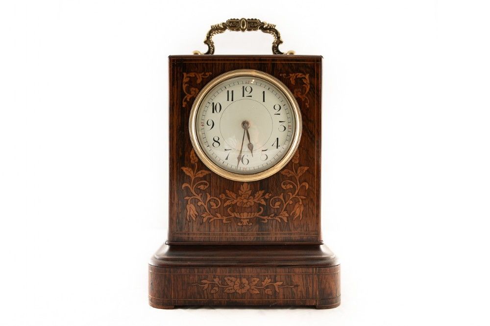 8 day french library clock in rosewood case