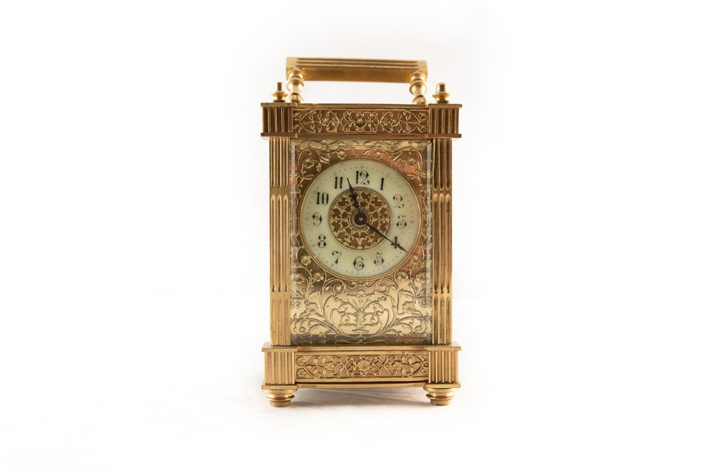 rare 8 day french brass cased carriage clock with cream dial
