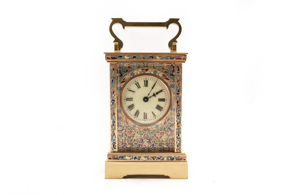 8 day french timepiece brass champleve carriage clock