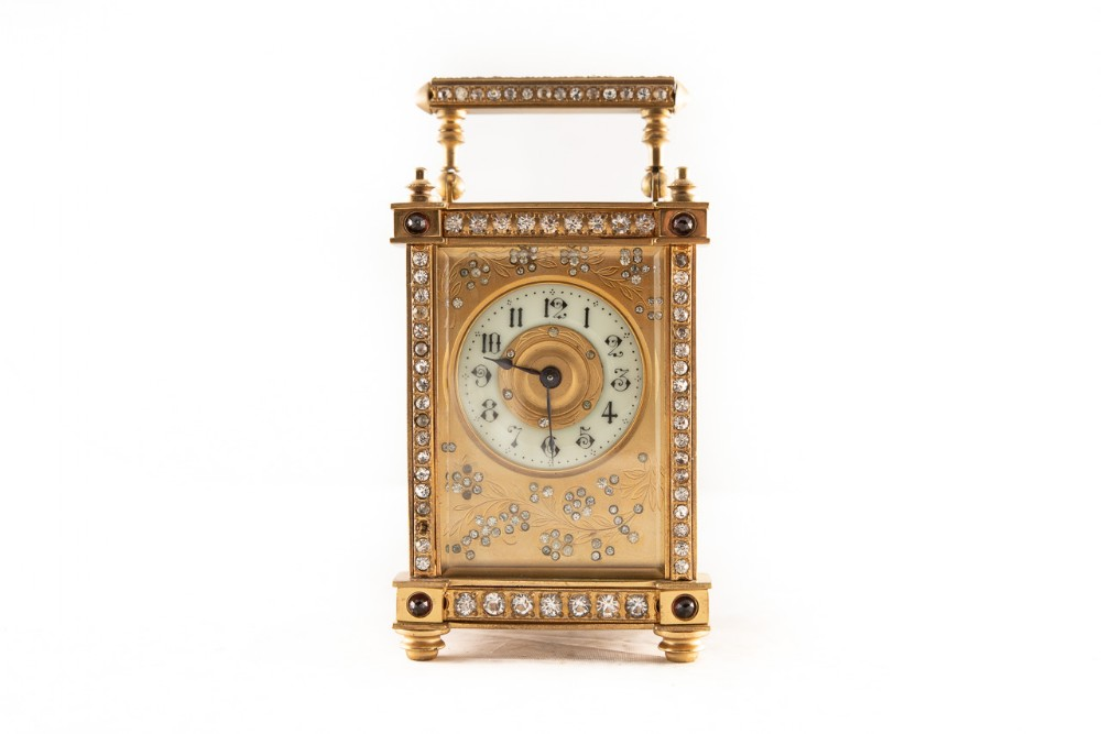 french 8 day timepiece brass cased carriage clock