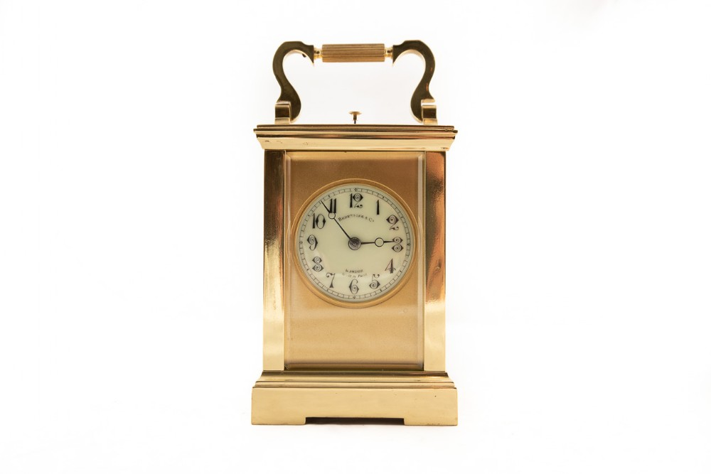 8 day brass cased carriage clock with striking and repeating movement