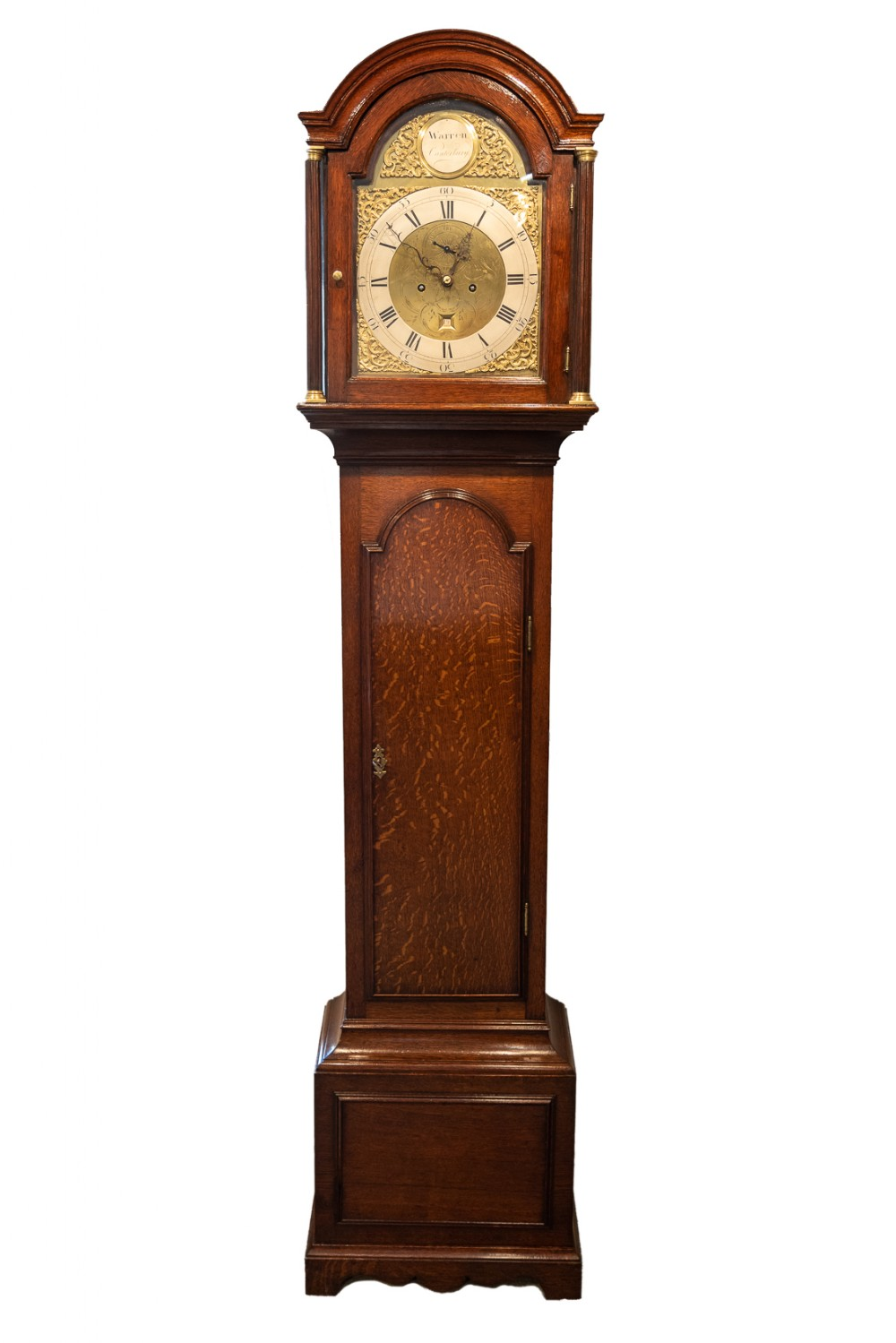 8 day arched brass dial longcase clock james warren of cantebury