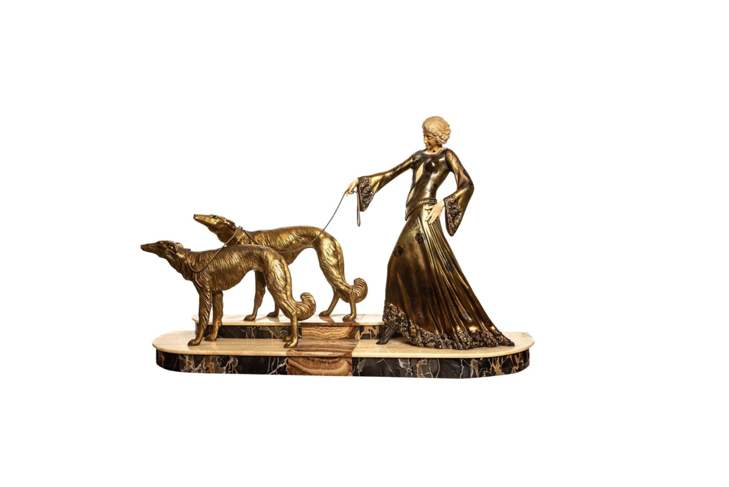 fine art deco bronze sculpture of a lady with two greyhounds by georges gori