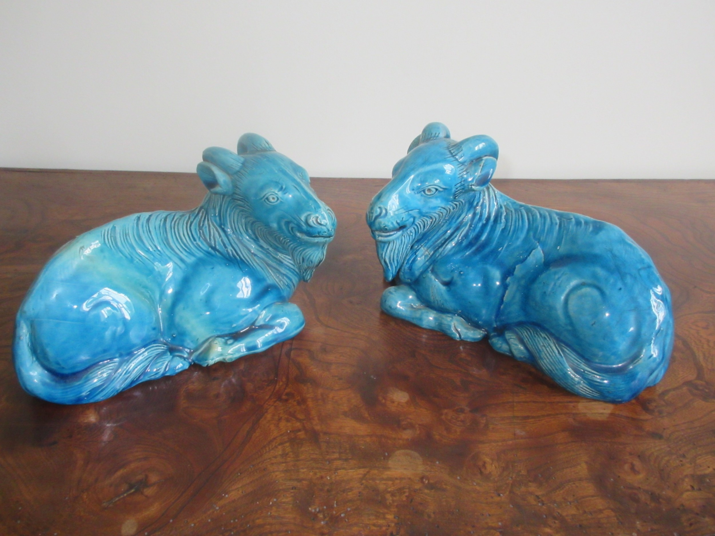 pair of chinese turquoise glazed porcelain goats qing dynasty early 19th century