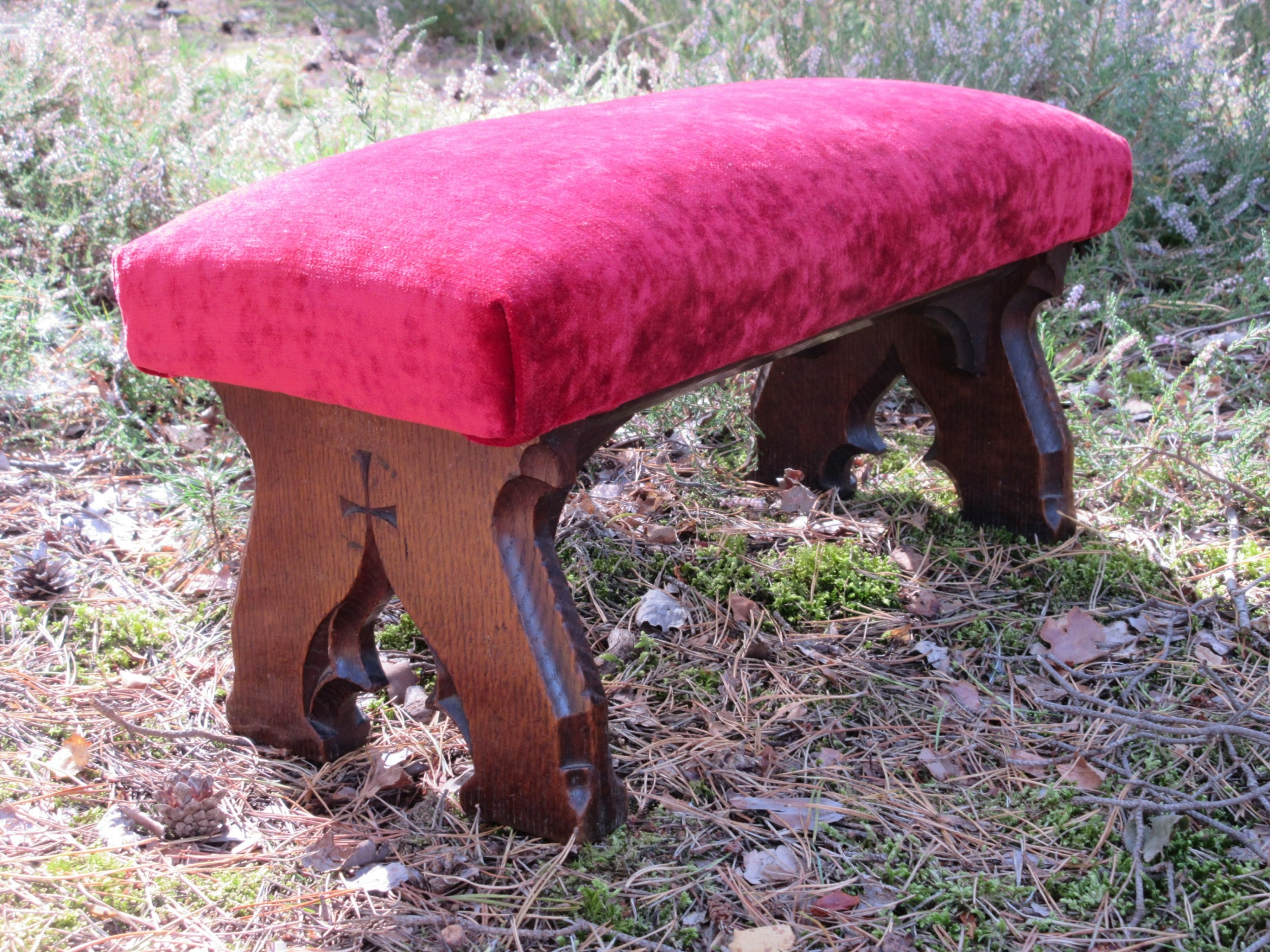 gothic oak footstool foot stool in the manner of awn pugin circa 1850