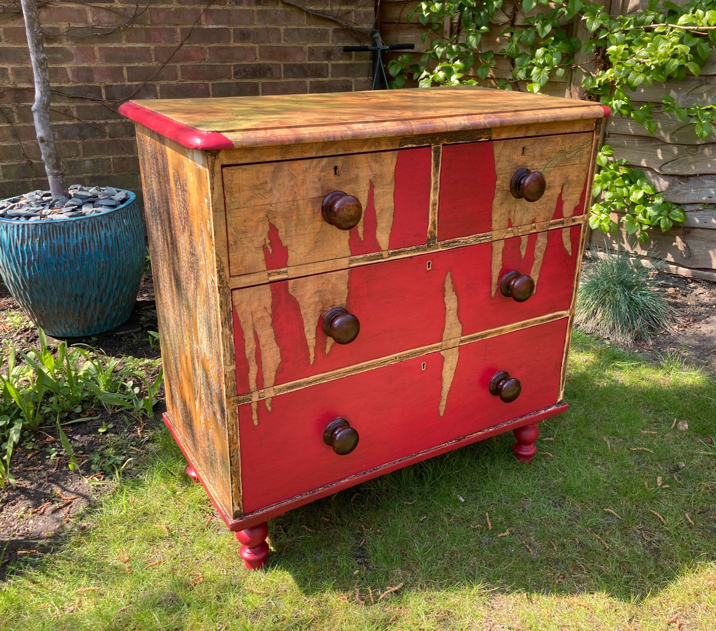 victorian painted pine chest of drawers circa 1880