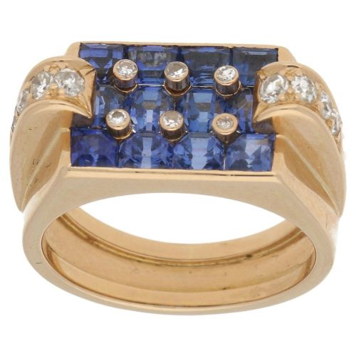 18ct yellow gold 1940s french sapphire and diamond ring