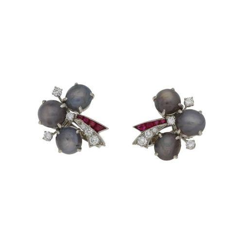 oscar heyman star sapphire diamond and ruby earrings