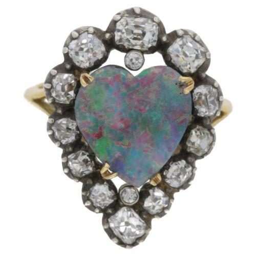 opal heart diamond cluster ring