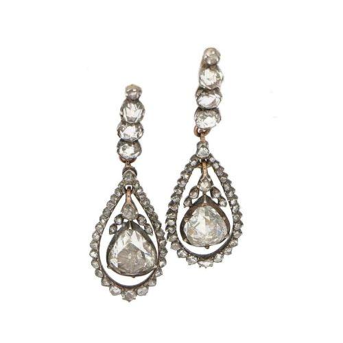 georgian rose cut diamond drop earrings in silver on gold