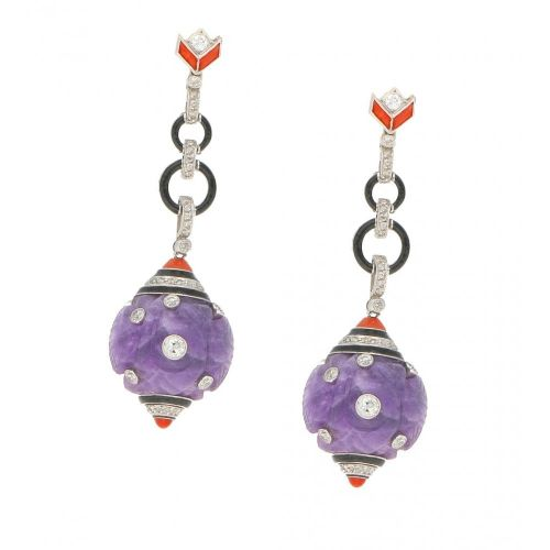 art deco amethyst diamond coral enamel drop earrings french