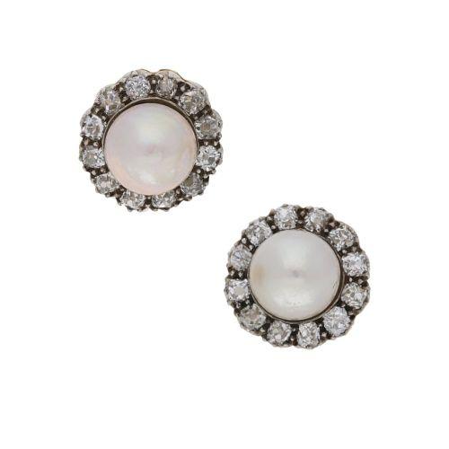natural pearl mine cut diamond cluster earrings