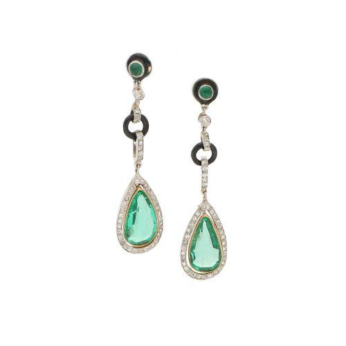 art deco colombian emerald drop earrings