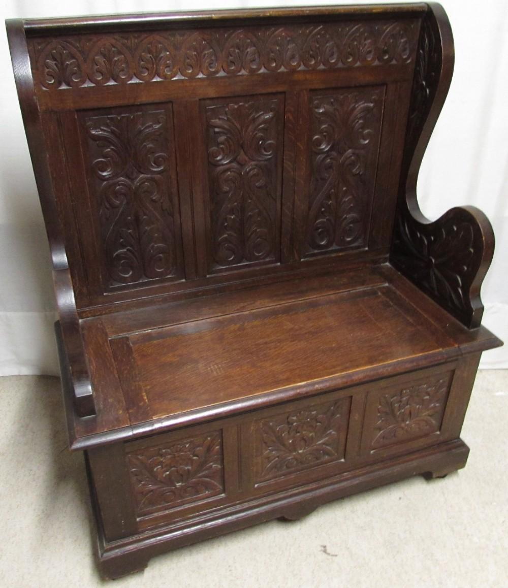 Carved oak bench or settle sellingantiques