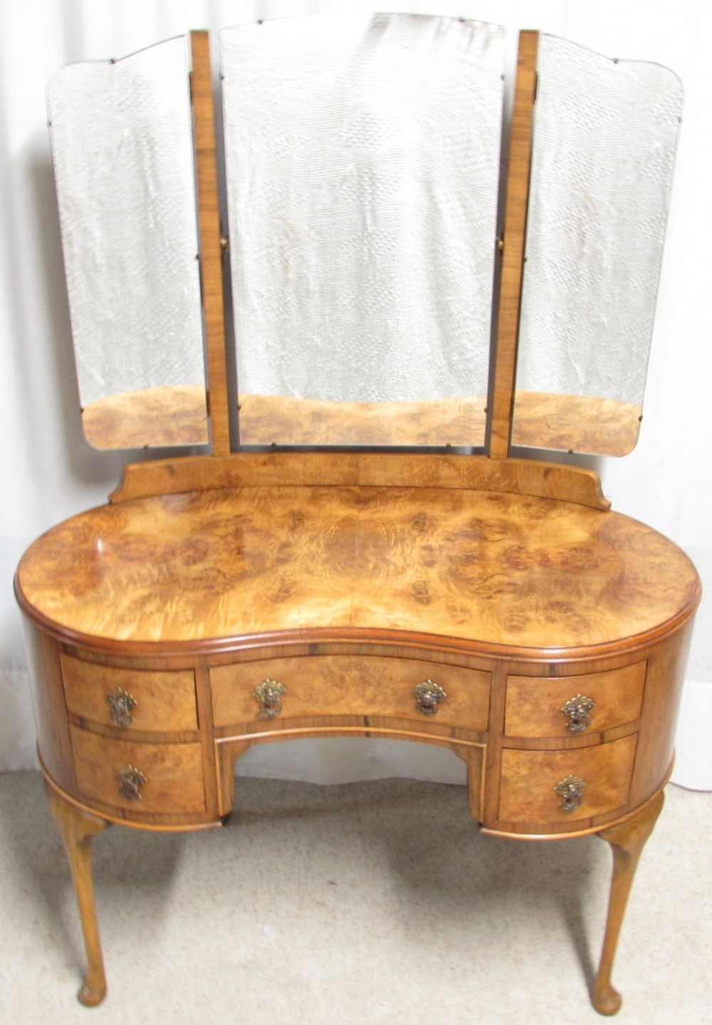 Burr Walnut Kidney Shaped Dressing Table
