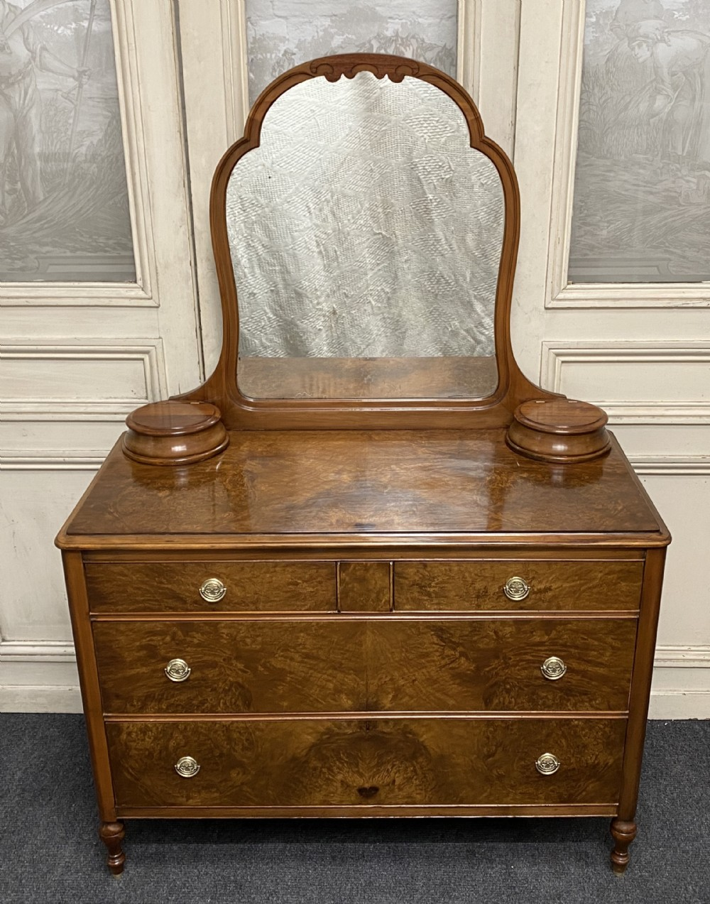 american burr walnut dressing chest