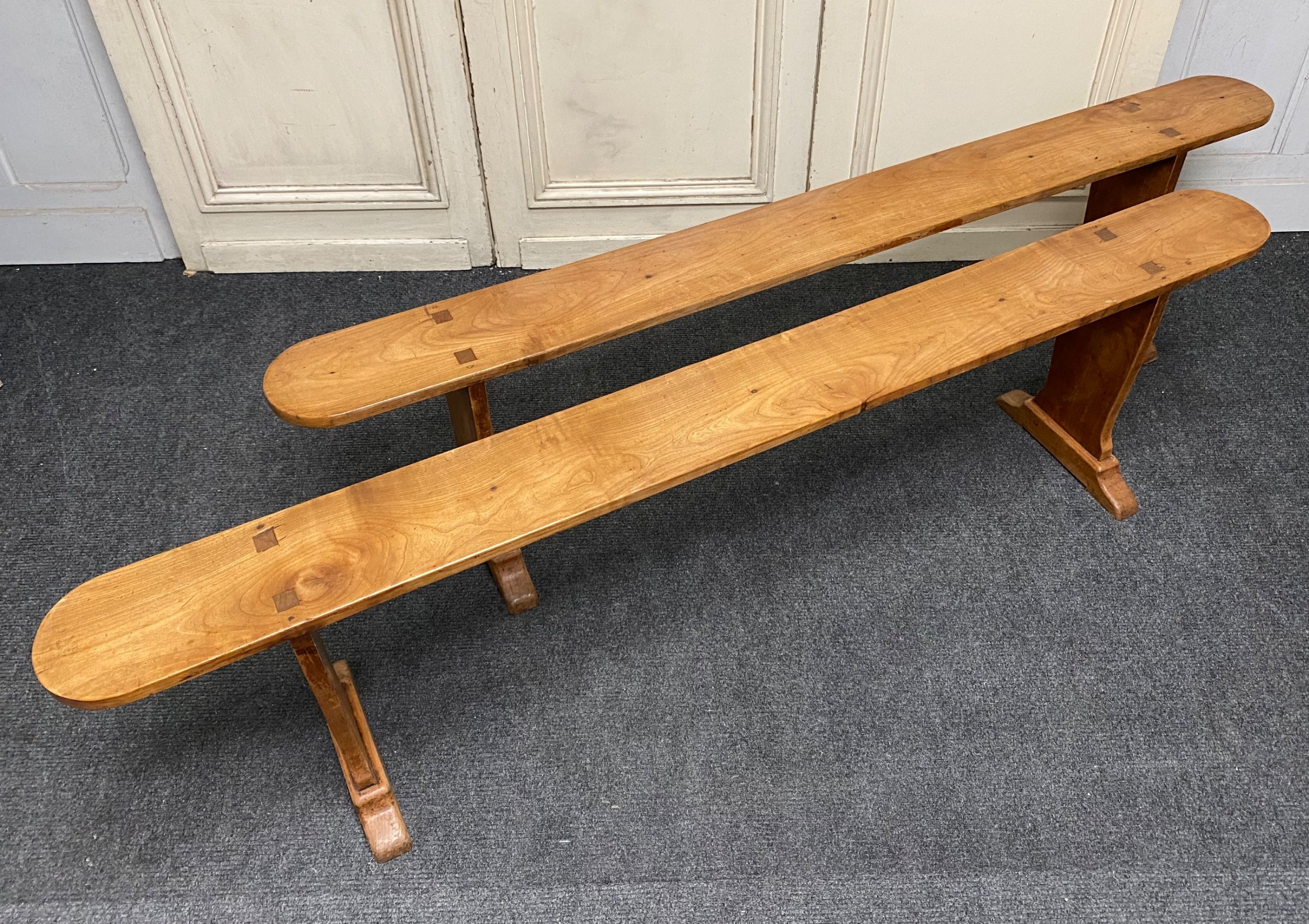 pair french cherry benches