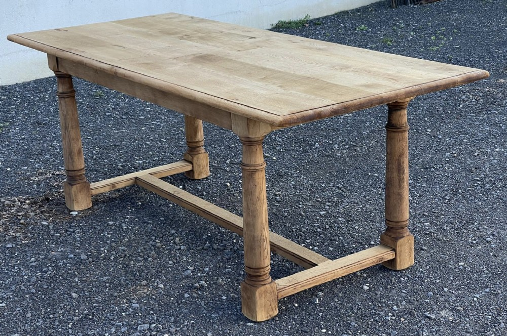 bleached oak rustic farmhouse table