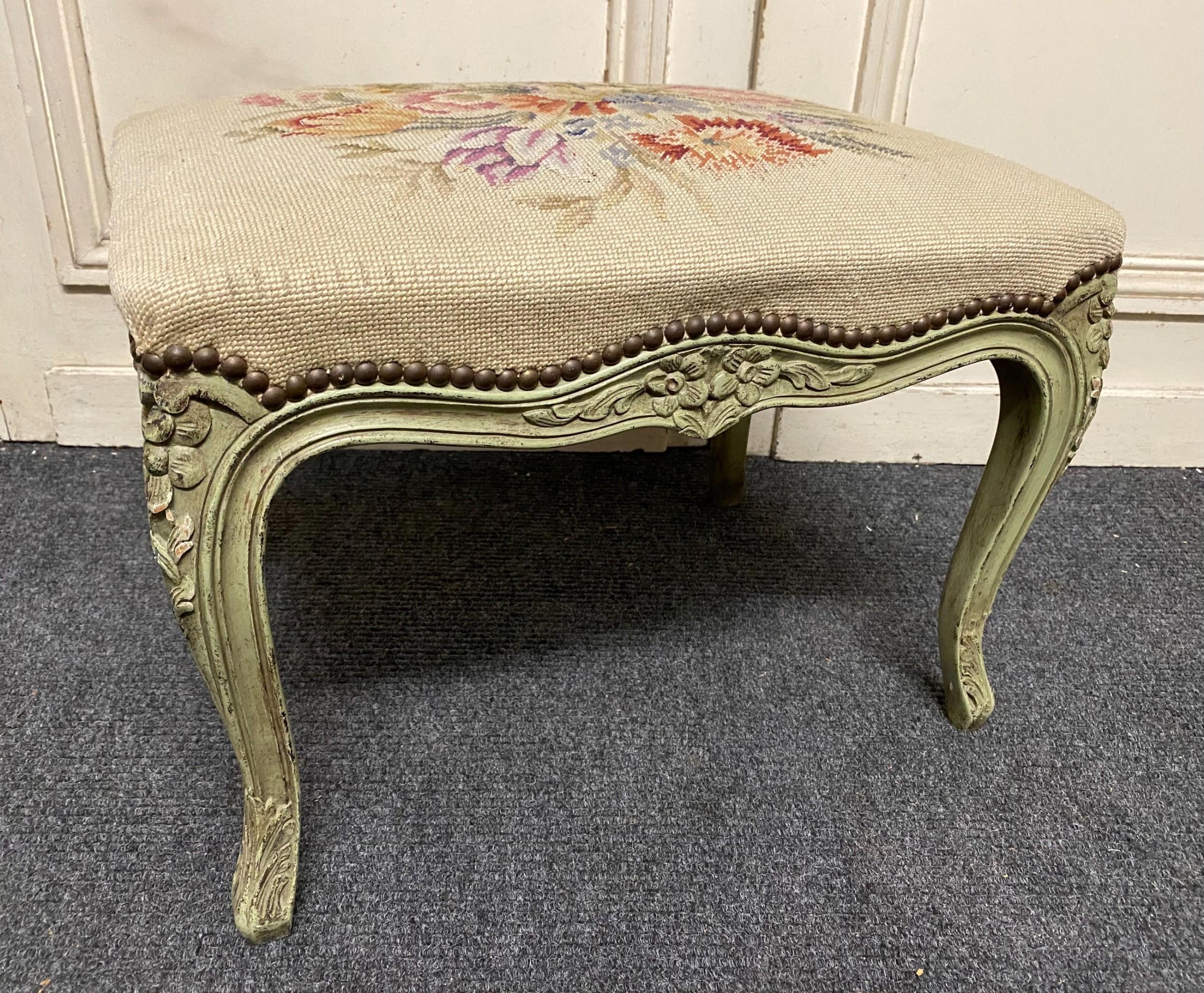 pretty french cabriole leg stool