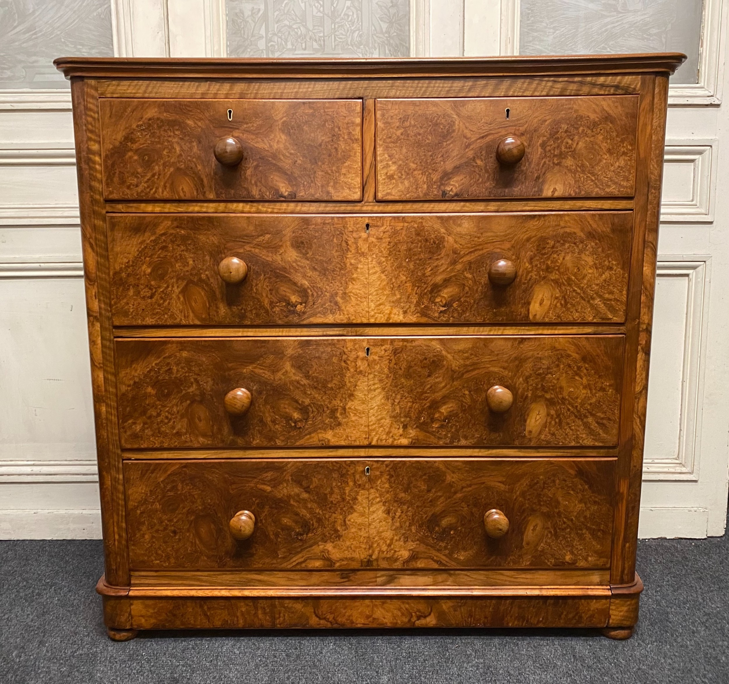 victorian burr walnut chest of drawers