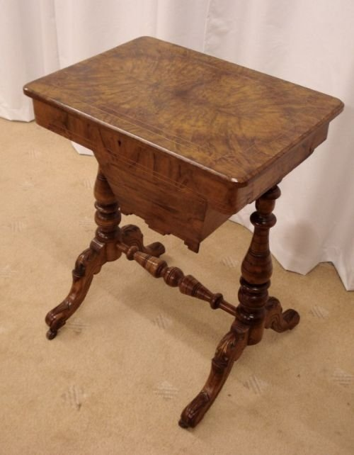 victorian inlaid walnut sewing table 73969. Black Bedroom Furniture Sets. Home Design Ideas