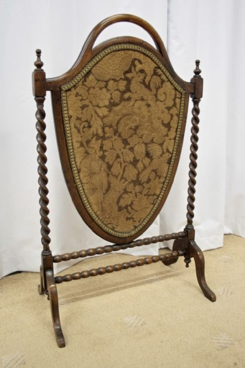 victorian mahogany shield shape fire screen