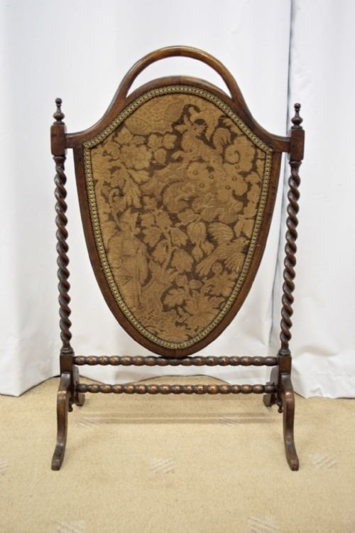 victorian mahogany shield shape fire screen - photo angle #3