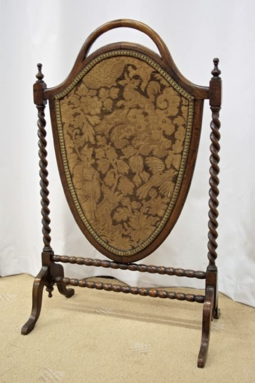 victorian mahogany shield shape fire screen - photo angle #2