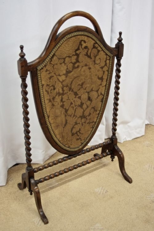 victorian mahogany shield shape fire screen - photo angle #4
