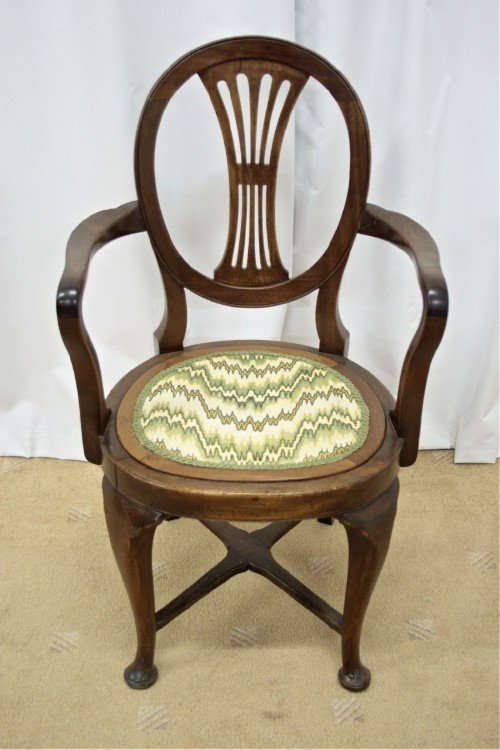 two edwardian walnut beechwood open armchairs - photo angle #2