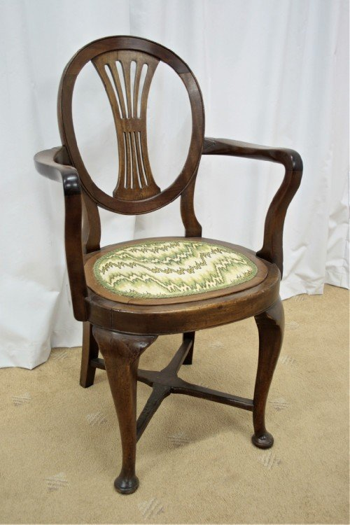 two edwardian walnut beechwood open armchairs - photo angle #3