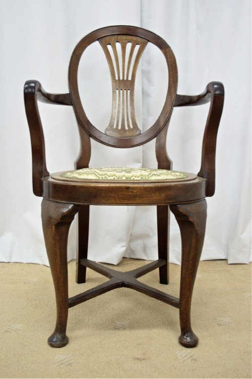 two edwardian walnut beechwood open armchairs - photo angle #4