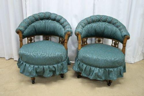 edwardian maple swivel tub chairs