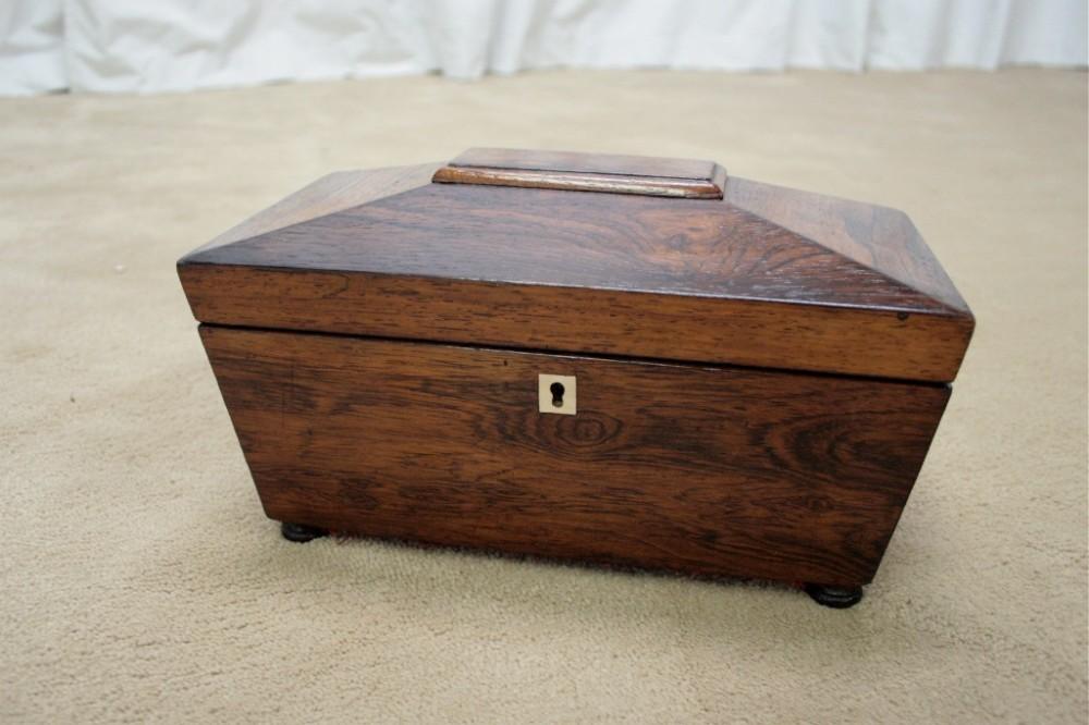 19th century rosewood tea caddy