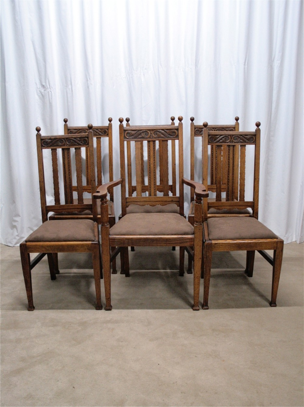 six edwardian oak dining chairs - Six Edwardian Oak Dining Chairs 258759 Sellingantiques.co.uk