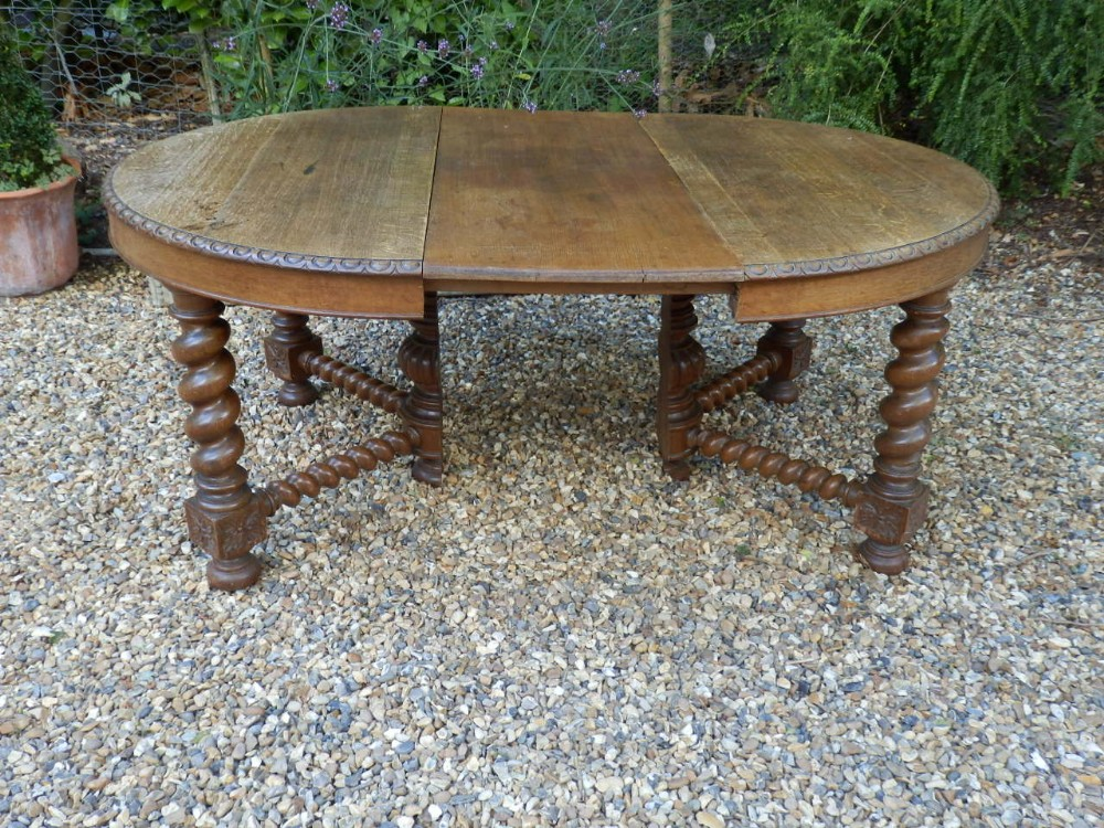 dining table 'd' end with centre leaf 180cm long solid oak