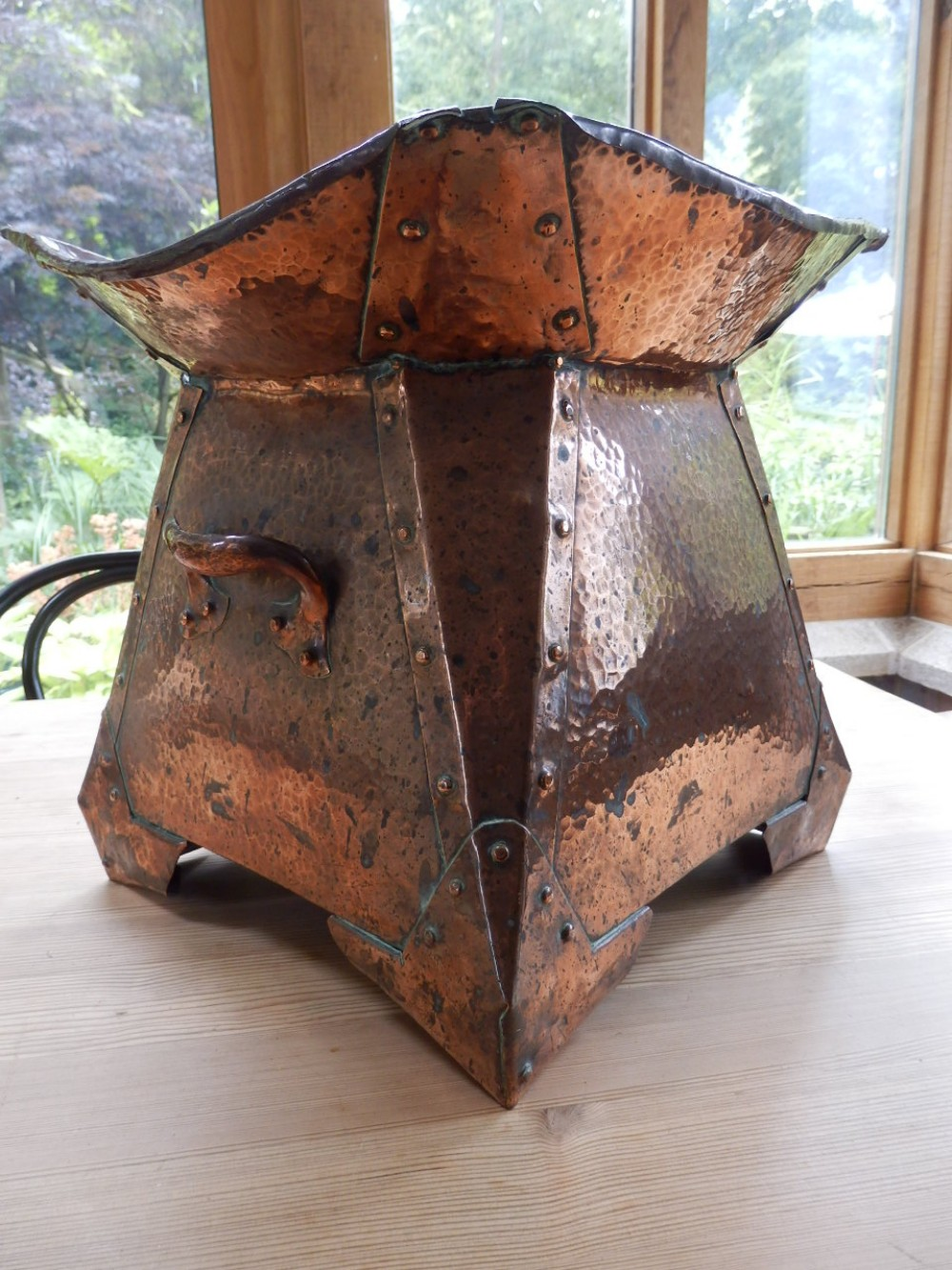 arts and crafts copper riveted planter 'soutterware'
