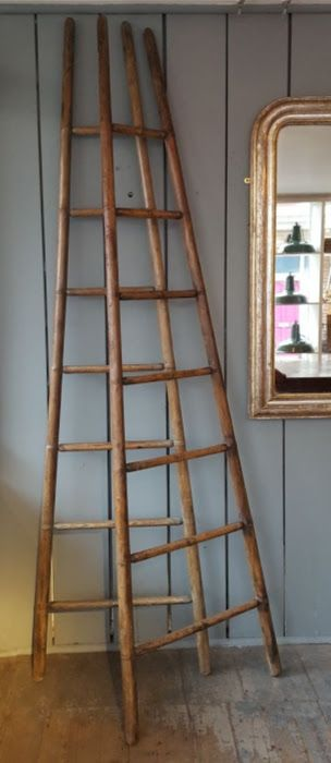 pair of ash library or shop ladders