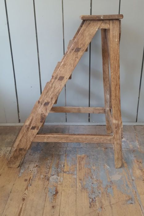 antique large wooden library steps c1900