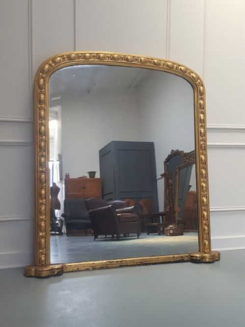 antique english overmantle mirror c1870