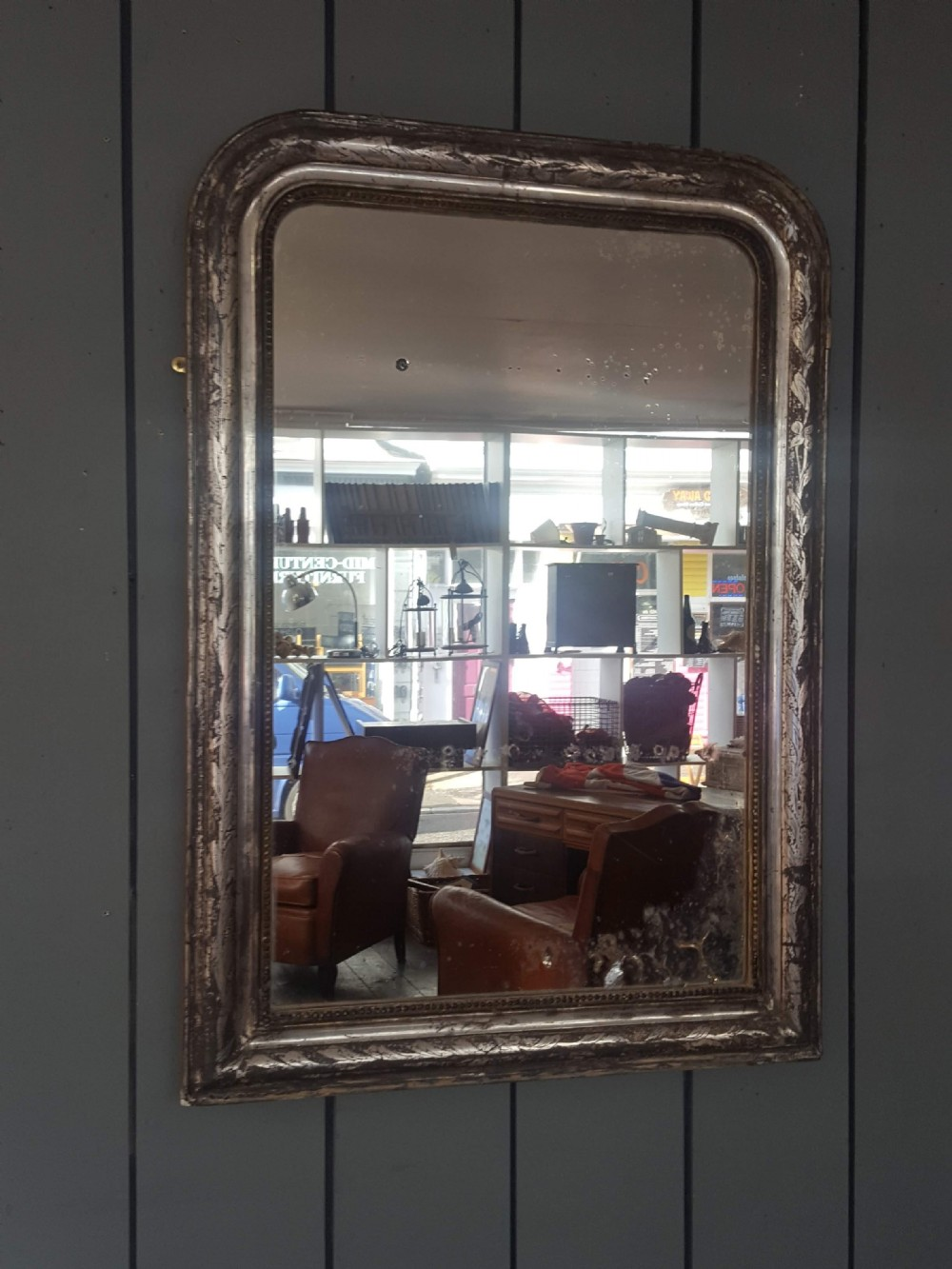 beautiful antique french silver mirror c1890