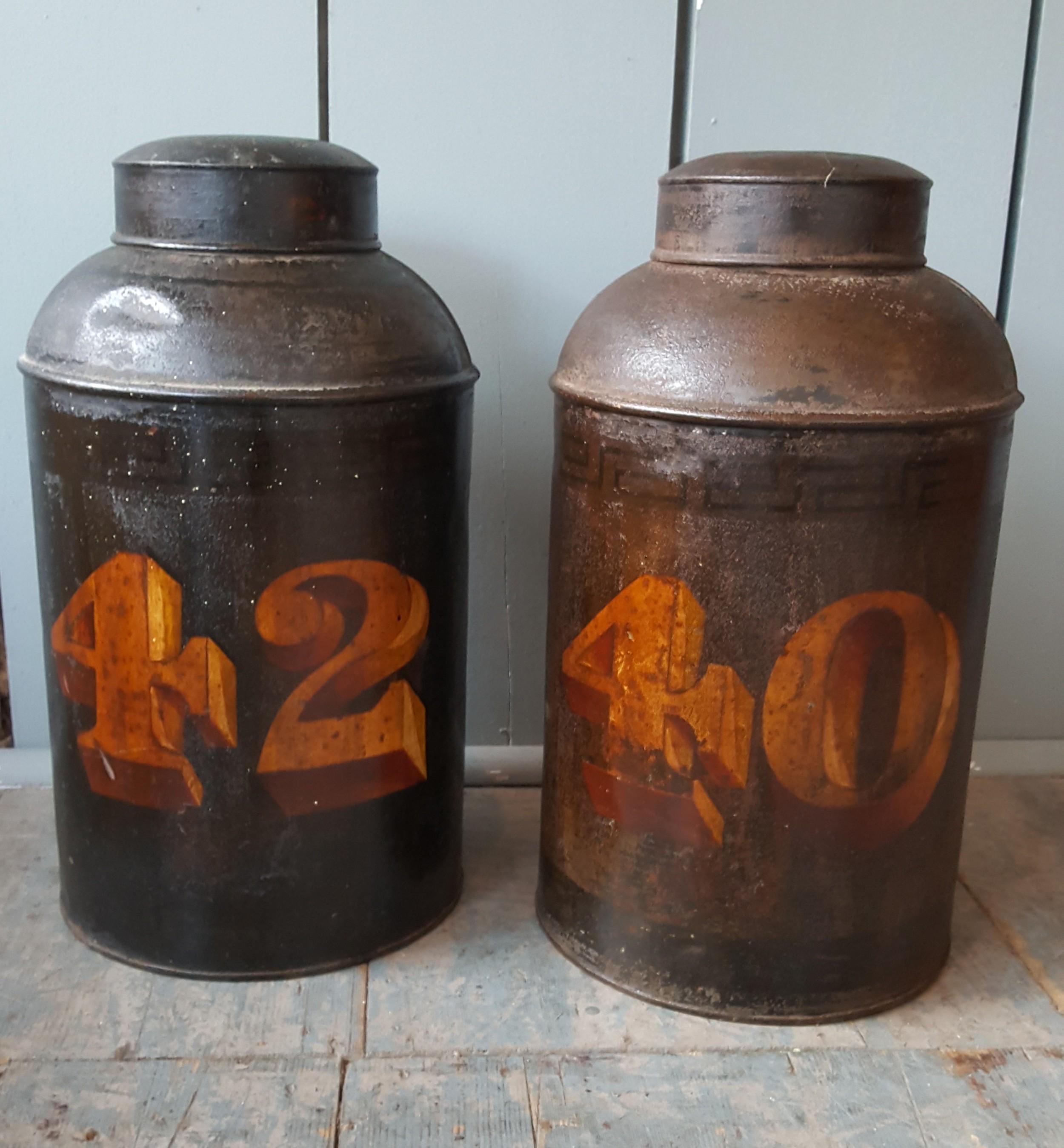 decorative antique tea tins c1850