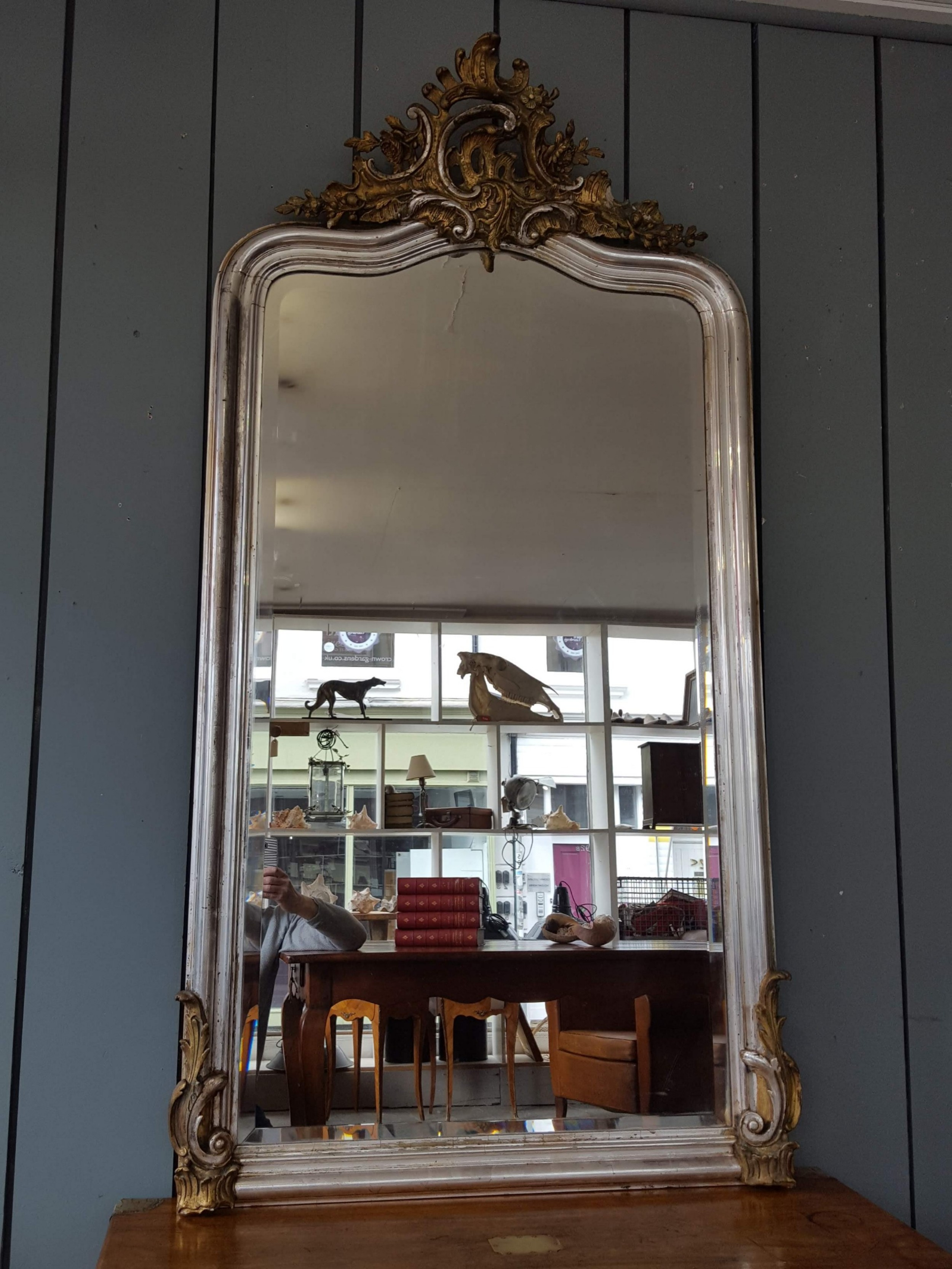 beautiful large antique silver gilded mirror c1880