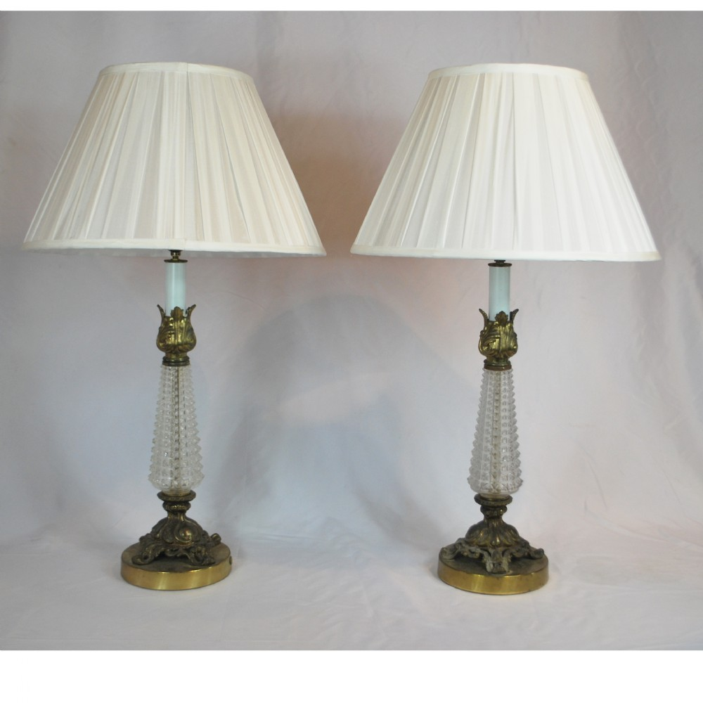 antique french pressed glass and solid brass table lamps. Black Bedroom Furniture Sets. Home Design Ideas