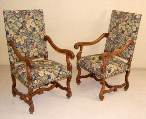 hich back armchairs fireside chairs in tapestry. antique photo - Hich Back Armchairs / Fireside Chairs In Tapestry 184820