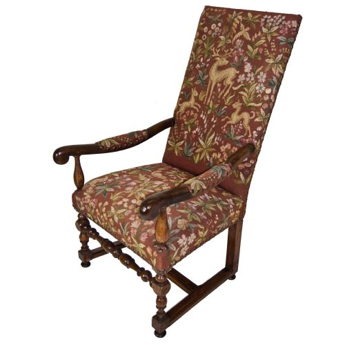 High Back French Chair With Original Tapestry Fabric