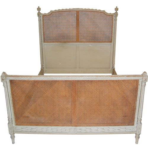 french antique bed with cane and painted frame