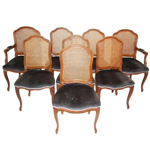 Set Of 8 French Cane Bergere Dining Chairs With Carvers